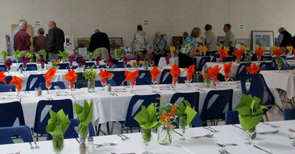 The Almonte Civitan hall was a flourish of butterflies, spring wildflowers and brilliant 'butterfly & spring' colors of green, orange and yellow sprouting from sparkling glasses for MVFN's 2015 Spring Gathering and Mysteries of the Monarch presentation. Photo by Neil Carleton.